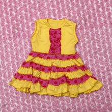 Summer Collection Of Fashion Dresses Sexy Girls Soild Yellow Dress For Kids Sleeveless Dress With Ruffle Toddler Casual