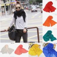 Lingshang 100%cotton solid color joker fold wrinkle scarf pashmina shawl scarves