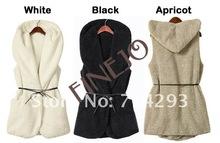 New womens ladie designer faux lamb fur long vest with hood belt latest design of waistcoat 7669