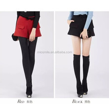 S30465A 2015 AUTUMN MIDDLE WAIST WOOLEN HOT SHORTS WITH BOWKNOT BELT