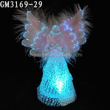beautiful fashion glass angel with fiber optic wholesale for decoration