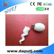 Factory OEM pvc sperm shape usb flash drive