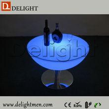 Muebles de exterior LED jardín uso que brilla intensamente mesa con el vidrio superior para el partido, boda, eventos