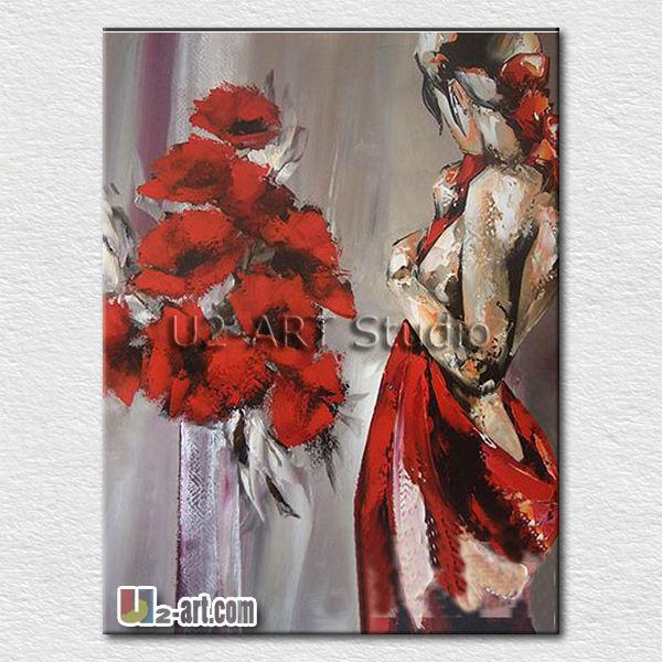 Mode Rouge Robe Sexy Lady Peintures à Lu0027huile Pour Mur De La Chambre  Décoration