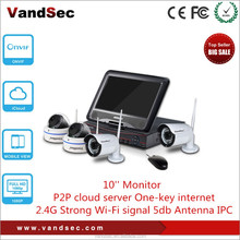 """Vandsec Top10 New 4CH NVR Kit With 1.3mp Wireless IP Camera 10"""" Monitor Home Security Wireless IP CCTV Camera System"""