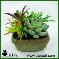 Hot Artificial Mixed Potted Succulents Arrangement in Pottery Pot for Table Plant