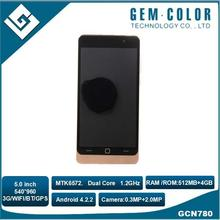 Hot Sell Android 4.2.2 GPS Wifi 5 inch 540*960 Pixels Mobile Phone Low Cost MTK6572 3G Smart Phone