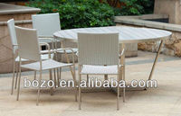 promotion rattan stainless steel plastic wood dining furniture