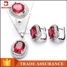 charming oval shape ruby gemstone copper jewelry set