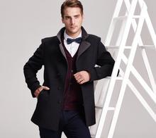 2014 New fashion business wool long mens coat