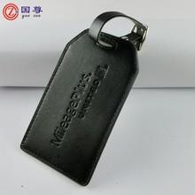 Custom Luxury Italian Leather Luggage Tag, Night Black