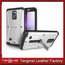 4in1 tank case for galaxy note 4 , For Samsung Galaxy Note 4 Dual Layer Armor Kickstand Cell Phone Case