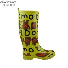 2015 New Design Yellow Cute Expression Printing And Cheap Rubber Rain Boot For Women