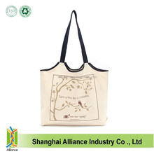 Factory OEM Standard Size Organic Cotton Canvas Tote Bag With Long Handle
