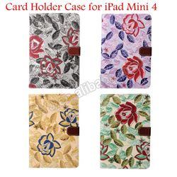 Flower Designs Wallet Leather Case for iPad Mini 4 with Card Slots Book Style