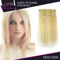 100% Human Remy Smooth Silky Straight Light Blonde Clip In Hair Extension 6 Pcs