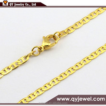 24K Gold Plated Marine Chain Curb Necklace Stainless steel Jewelry
