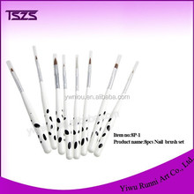 HOT white and black dot 8 pcs acrylic nail brush set for Salon Manicure Tips 8P-1