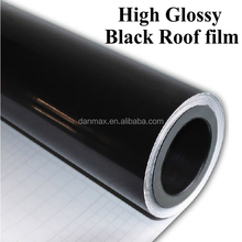 High glossy pvc removable black car vinyl roof with air bubbles