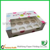 Colorful cup cake box with clear window and custom logo