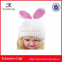 Children Kind White Lovely Knitted Beanie Hat Children Crochet Rabbit Cap