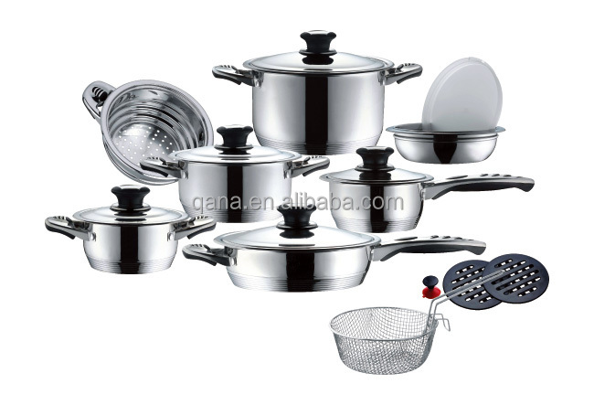 ligne suisse en acier inoxydable 18 pcs batterie de cuisine induction hot pots ensemble. Black Bedroom Furniture Sets. Home Design Ideas