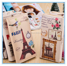 wholesale paris eiffel tower european leather money clip wallet case for men