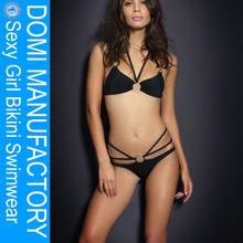 Domi vestuário sexy fotos da menina bikini preto cor com corda tecidos para biquini