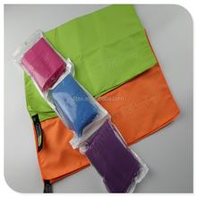 soft towel/fabric for sport ,beach,swimming,bath,travelling and promotion microfiber with elastic band and loop into meshpouch