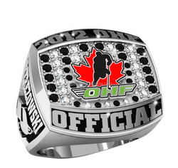 Silver Hockey Championship ring with Red enamel