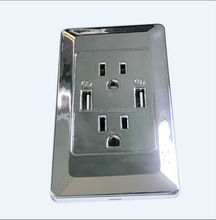 America newest type 15A Socket 2 Gang - Satin Matt Chrome - Square - Metal Rocker Switch - 15 Amp Double Wall Plug Socket usa