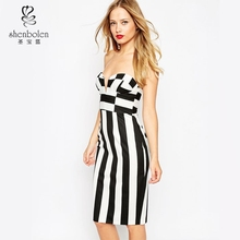Fashion Zip Back Plunge Neck Sleeveless Pencil Dress for party Black and White Color Bodycon wholesale