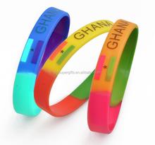 Personalized prineted logo rubber silicone wristband bracelets