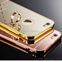 Aluminum + Plastic Luxury Mirror Metal Case 18k 24k gold plated 6 6s case For case apple iphone 6 plus bumper housing