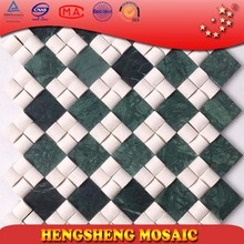 SD17 High quality white round mixed dark green rectangle shape stone mosaic hotel wall tile