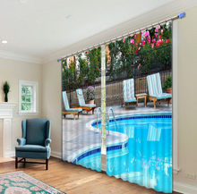 Hot sell party city garden swimming pool curtains designs for 108inch 3D ready made curtain
