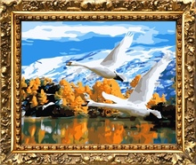 40*50cm factory price swan painting, canvas oil painting