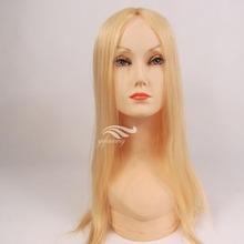 Good Quality Light Blonde Natural Straight Mongolian Human Hair Bonde Mono Top