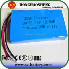 HHS 48V 20AH 18650 samsung 25r INR 18650 3.7v 2500mah 20A battery cells make li ion battery 13s 4p 48v 10ah battery pack