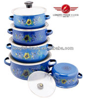 Glass Lid With Nice Design Porcelain Enamel Cookware