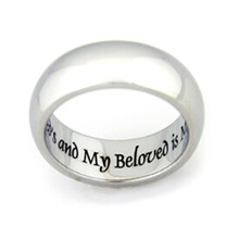 Yiwu Aceon I Am My Beloved And My Beloved Is Mine' Ring Surgical Steel Comfort fit Engraved design