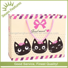 Cute cat reusable luxury boutique paper shopping bags,value fashion gift paper bags for celebration