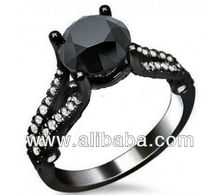 4.10Cts Full Black Round Solitaire 925 Silver wedding engagement ring