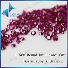 Brilliant Machine Cut 1.5mm blood red burma ruby & diamond