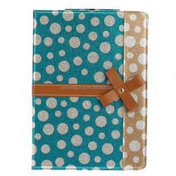 Polka Dot Pattern Synthetic Leather Sttiching cover for ipad air 2