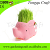 Wholesale office decorations elephant shape mini ceramic crafts grass head doll