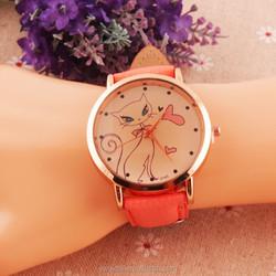 2015 Newest Popular 12 colors Fashion Cute Cat Lady quartz Gold Case Wrist Watch women watches PU Leather Designs