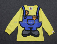 TF-W02151016004 2015 popular logo bape with minion paragraphs cooperation children baby long sleeve T-shirt in the autumn