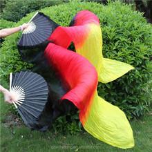 Nueva danza del vientre llegada Fans de seda, danza del vientre seda velos, negro rojo amarillo color fuego