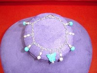 Turquoise Pearl Charms Bracelet